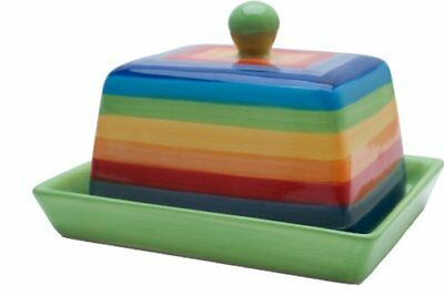 Ceramic Butter Dish With Lid In Rainbow Striped Design By Windhorse Fair Trade