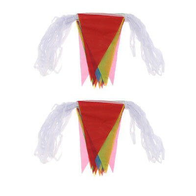 Multi-color 40m Triangle Flags Bunting Banner Pennant Festival Party Decor