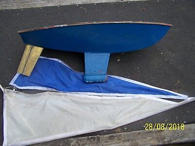 """Huge Vintage 36"""" Pond Sailboat Yacht HULL Weighted Keel"""