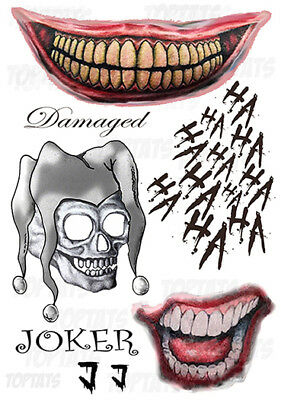 UK Joker Suicide Squad Fancy Dress Costume Temporary Tattoo Halloween Batman