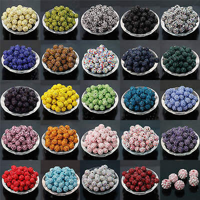100PCS Czech Ball Spacer Beads 6-12MM Crystal Rhinestones Pave Clay Round Disco