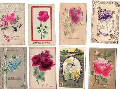 "(8) Vintage POST CARDS: Embossed & Flocked ""Birthday Wishes"" [10-3"