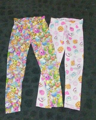 2 pairs of girls size 8 Shopkins pants leggings pajamas