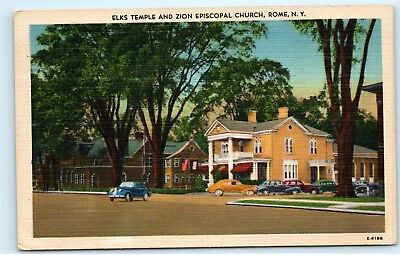 Rome NY Elks Temple Zion Episcopal Church Vintage 1940s Linen Postcard D59