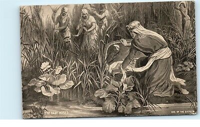The Baby Moses in the Bull Rushes Vintage Religious Art Postcard D61