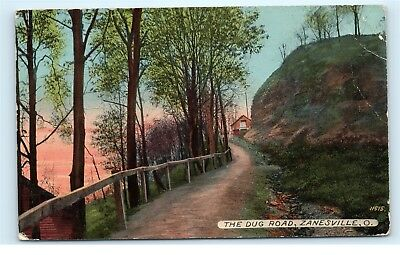 Zanesville Ohio OH The Dug Road Old Country Road 1916 Antique Postcard D60
