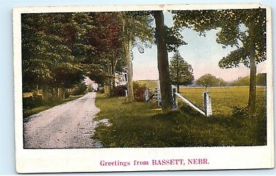 Greetings from Bassett Nebraska NE Old Country Road Farm 1920s Postcard D59