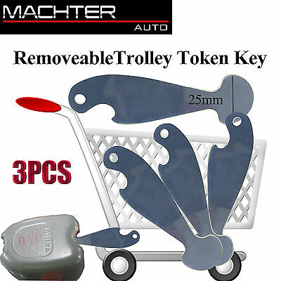 3PCS Shopping Retractable Shopping Trolley Key Token Coles Woolies Aldi NO Coin