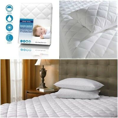 Luxury Deep Fitted Waterproof Quilted Mattress Protector UK Stock - A+  Quality