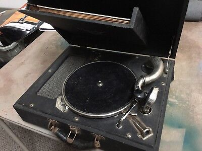 Portable Victrola And Set Of Records