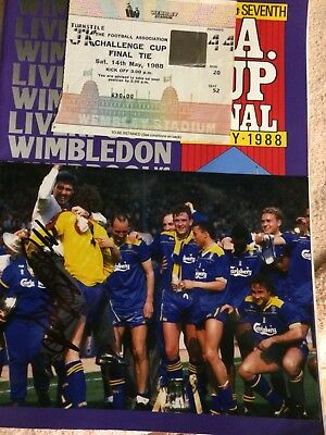 Wimbledon V Liverpool FA Cup Final 1988 Programme , Ticket & Signed Photo