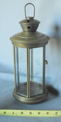 Brass Hanging Candle Lantern Etched Glass Panel HEXAGONAL ANTIQUE vintage French