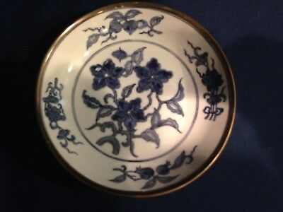 Blue & White Japanese Porcelain  Bowl with metal rim. Decorated Hong Kong reduce
