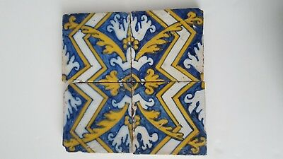 18th Century Azulejos Antique Portuguese  Set of 4 Glazed Ceramic Building Tiles