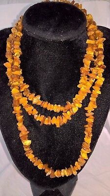 68,6 gr Extra Long Beautiful Old Baltic Amber Necklace Butterscotch Egg Yolk 老琥珀