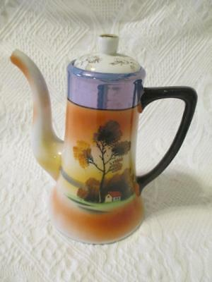 Vintage Chikaramachi Tea Pot Made in Japan Handpainted Crown Wreath Mark Teapot