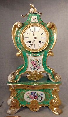 Green FRENCH ROCOCO Old Paris Sevres PORCELAIN Mantle CLOCK on Stand 19th C.