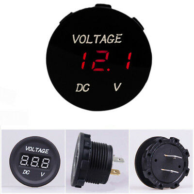 12V-24V Car Motorcycle LED Digitalanzeige Voltmeter Socket Gauge Meter Red DE