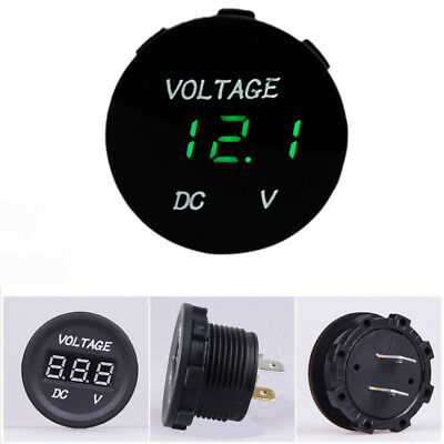 12V-24V Car Motorcycle LED Digitalanzeige Voltmeter Socket Gauge Meter Green DE