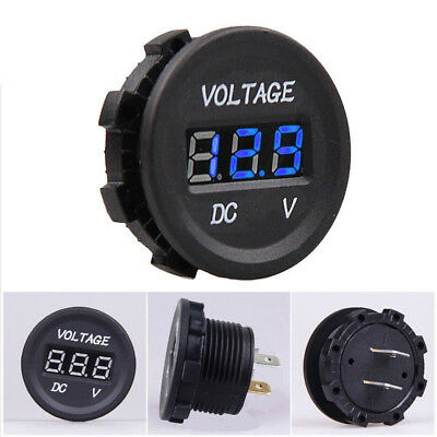 12V-24V Car Motorcycle LED Digitalanzeige Voltmeter Socket Gauge Meter Blue DE