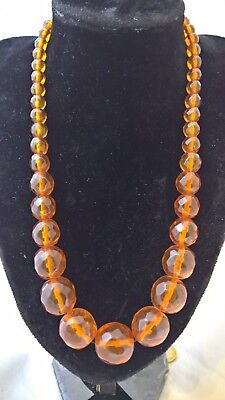 56,9 gr Beautiful Old Baltic Amber Necklace Faceted Round Beads Cognac
