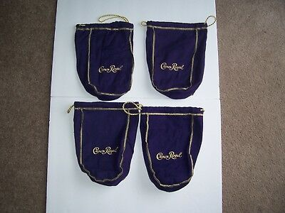 Crown Royal Bags Purple Lot Of 4 Gold Trim New!