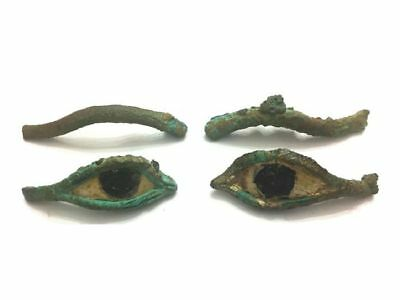 Ancient Egyptian pair of bronze eyes and eyebrows