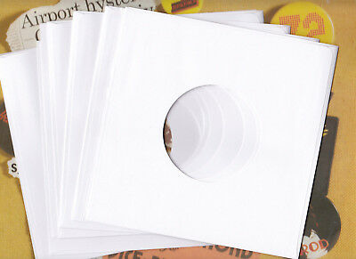 """12 x 7"""" Quality White Generic Paper Record Sleeves for your Vinyl 45s NEW!"""