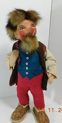 "Vintage 13"" German Doll Carved Painted Wood Head Fabric Body Fur Hair and Beard"