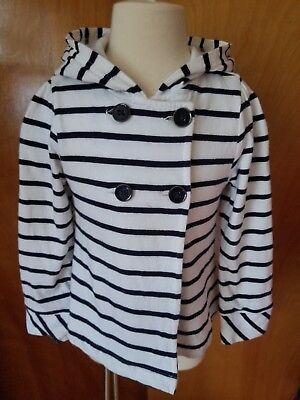 girls navy white stripe old navy sailor jacket button hoodie 3t