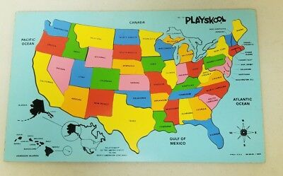 Complete Map Of Usa.Vtg Playskool No 770 Inlaid Wood Wooden Map Puzzle United States Usa Complete