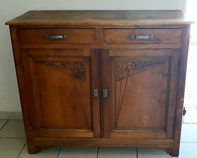 Buffet bas  ancien, marron, 2 portes, 2 tiroirs