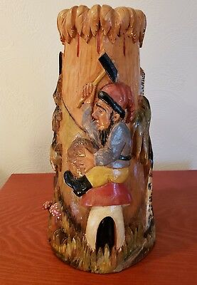 RARE HAND CARVED wooden Vase Gnome woodland Poland Black Forest  Detailed German