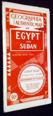 Geographia Map of Egypt & Sudan 1950s color large scale fold out excellent shape