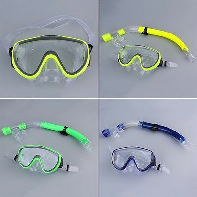 Swimming Scuba Semi-dry Snorkel Breath Tube + Diving Mask Glass Lens SetXF