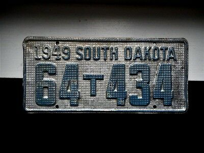 South Dakota License Plate Tag Number 64 T 434 Classic Sd Vintage 1949 Waffle