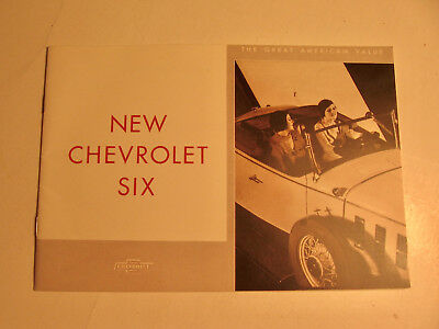 "1930's Era ""New Chevrolet Six"" Brochure"