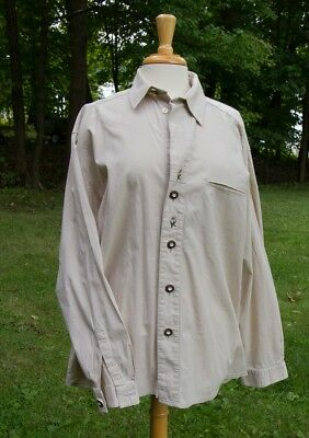 Authentic German Mens Shirt Cotton Edelweiss Embroidery Country Line Octoberfest