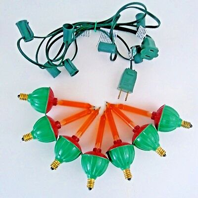 vintage lot of 7 bubble lights christmas light cord c7 red green bulbs working