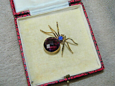 Antique Vintage art deco sapphire and amethyst glass insect brooch pin