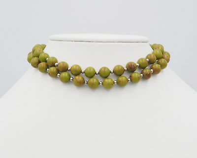 Old Vintage Retro Marbled Green Acrylic Bead Fashion Necklace For Repair AS IS
