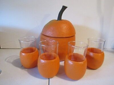 What a Find! Vintage Orange Ice Bucket and Glass Set - Mid-Century
