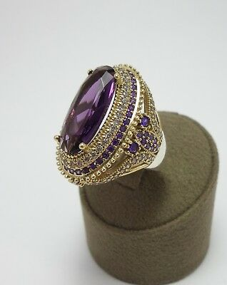 Sterling 925 Silver Handcraft Turkish Jewelry Amethyst Gemstone Ladies Ring