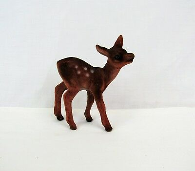 Flocked Deer Figurine vintage Christmas blow mold fuzzy Fawn baby West Germany