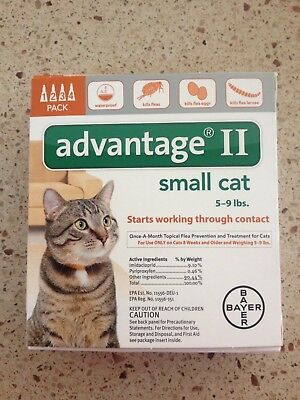 Advantage Ii For Small Cats 4Pack 5-9 Lbs Newest Sealed Box Epa Approved Usa