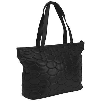 Embassy™ Italian Stone™ Design Large Genuine Leather Purse Black