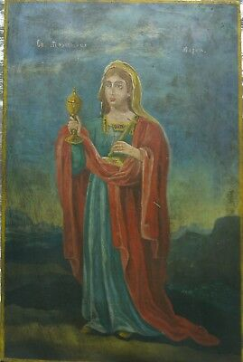Ancient Orthodox icon of St. Mary, 19th century, hand painted on blackboard