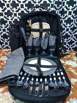 Picnic At Ascot Backpack for 4 with Wine Holder and Cooler - NEW