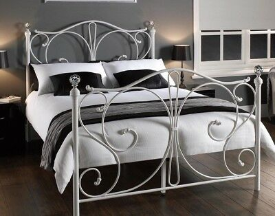 Vintage Victorian Style 5FT Double King Size White Metal Bed Frame Retro Design