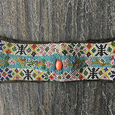 Antique Chinese Beaded Mosaic Head Band, C. 1900